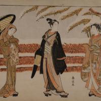 1月 鈴木春信 「雪中の若衆と二人の美女(美人)」の画像
